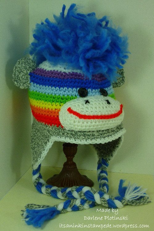 Darlene Plotinski its an inkin stampede anything but a card challenge blog crochet knit hat monkey mohawk